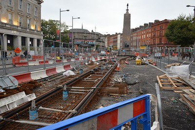 Luas XC trackworks O'Connell St 15 October 2016