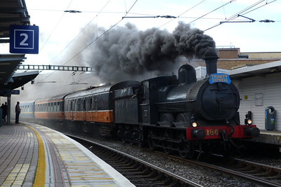186 on a private steam charter, passing through Tara Street, Sunday, 28/08/11