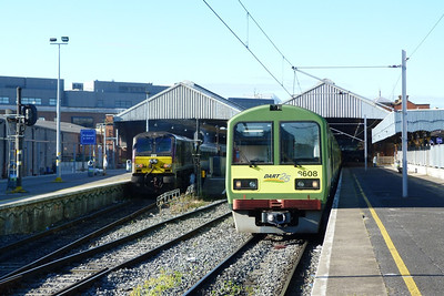 209 with Mark 3 EGV arrives into Dublin Connolly with the 08:00 from Belfast Central, while 8608 is seen in Platform 4 with a terminating DART service. Wednesday, 19/09/12