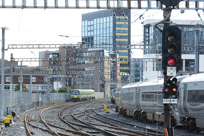 The Alsthom DART sets in the loop at Dublin Pearse. Tuesday, 18/09/12