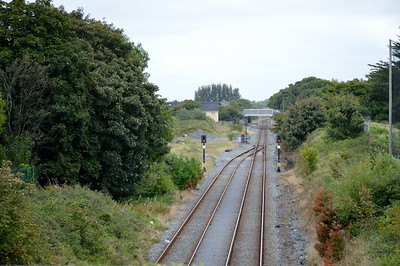 Athenry looking east 17 September 2016 Closed line to Tuam and Claremorris verges off to the left of the LHS signal.