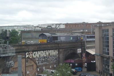 DRS 66 303 waits at a signal at Camden Road with a Greater Anglia 90. Friday, 08/06/12