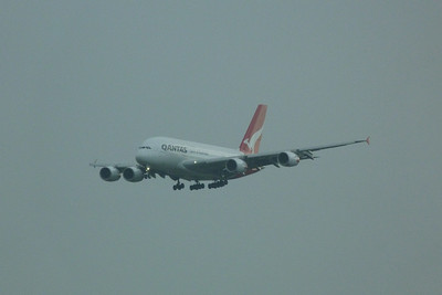 A Qantas A380 arrives into London Heathrow. Saturday, 09/06/12