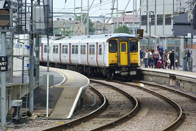 317 661 arrives into Stratford, in the Greater Anglia white and red livery. Friday, 08/06/12