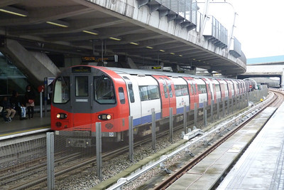 A Jubilee line train on a working from Stratford arrives at Canning Town, Friday, 08/06/12