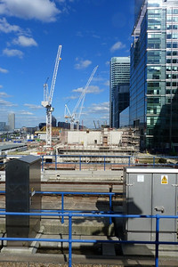 Work taking place on the Crossrail station at Canary Wharf. Saturday, 09/06/12