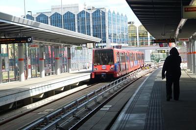DLR set 22 departs Stratford Low Level. Saturday, 09/06/12