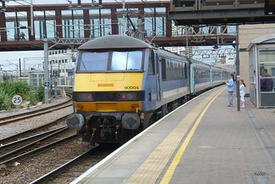 90 004 passes through Stratford with a Mark 3 rake. Friday, 08/06/12