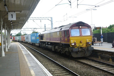 DBS 66 161 passes through Camden Road with a liner, Friday, 08/06/12