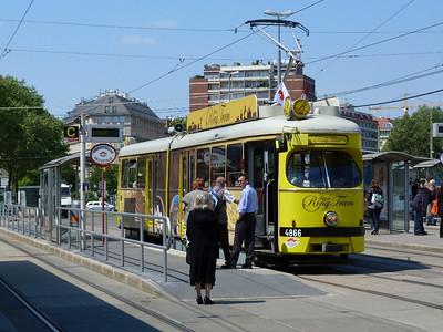 4866 on the Ring Tram tour at Schwedenplatz. Vienna, Monday, 02/05/11