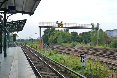 Runway approach lights over the railway line at Berlin Templehof, Sunday, 16/09/12