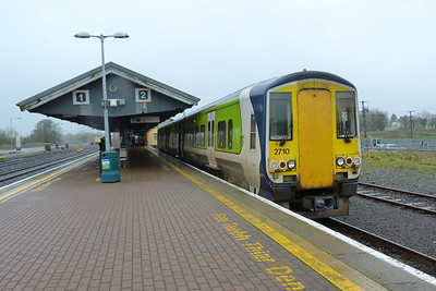 2710 at the other end of the platform which would do the 13:55 service to Waterford. Limerick Junction, Wednesday, 22/02/12