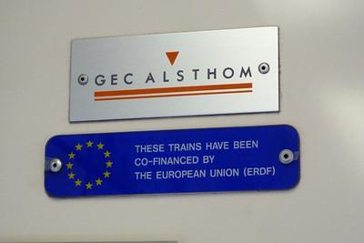 GEC Alsthom interior plaque on 2701. Wednesday, 22/02/12