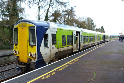 2713 is seen at the first stop on the Nenagh line at Roscrea. Thursday, 23/02/12