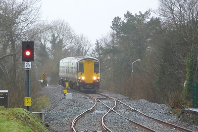 2712 is seen approaching from the south on the 09:35 Limerick to Galway service. Gort, Wednesday, 22/02/12