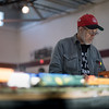 Travers Rank of the Northshore Model Railroad Club works on the track layout during Railfair '17 inside the Ayer/Shirley Middle School gymnasium on Sunday April 2, 2017.  (Sentinel & Enterprise photo/Jeff Porter)