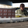 Norm Larkin of Methuen enjoys the passing of a model train at the NVRRA's open house at Pheonix Park in Shirley on Sunday April 2, 2017.  (Sentinel & Enterprise photo/Jeff Porter)