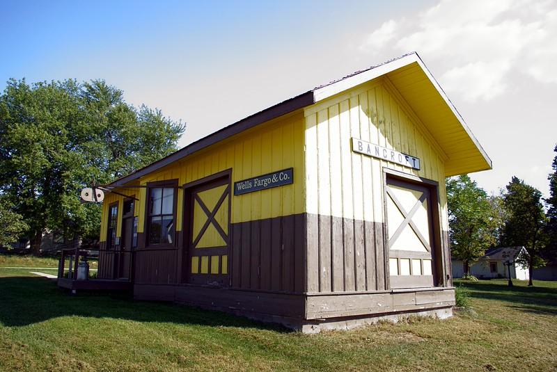 Kansas City, Wyandotte, & Northwestern depot in Bancroft, KS.