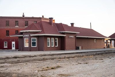 Santa Fe depot in Larned, KS.  Now used as a bank.
