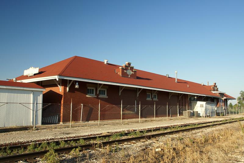 Non traditional Santa Fe depot design in Ellinwood, KS.