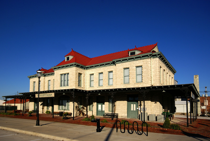 Built in 1888, this depot served the Kanas City, Lawrence, and Southern Kansas Railroad.  It later was aquired by the Santa Fe.  It now serves as a museum.
