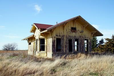 The former Isabel, KS Santa Fe depot.  Now located north of St John, KS.