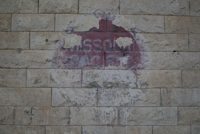 """Part of the Missouri Pacific """"buzzsaw"""" logo can be seen on the depot in Salina, KS."""