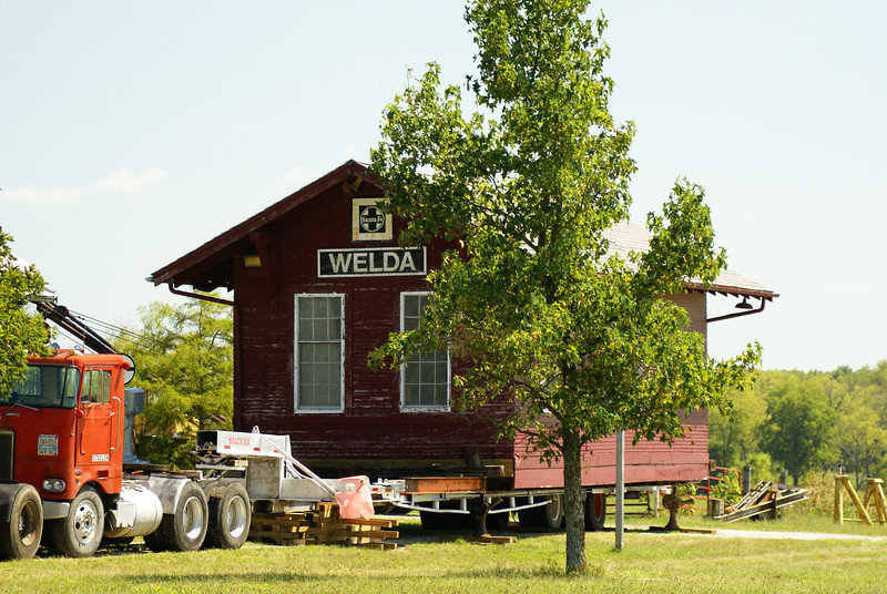 Depot from Welda, KS in process of being moved to Topeka, KS