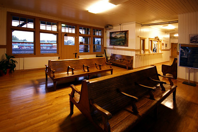 Waiting room view of the Glacier Park, MT depot.