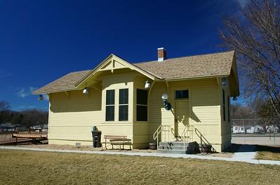 Restored Union Pacific depot in Pleasanton, NE.