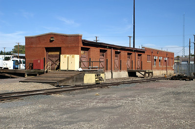 Freight depot in Las Vegas, New Mexico.  Now used by BNSF as office space and storage.