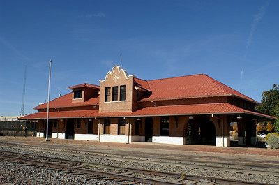 Restored ATSF depot in Las Vegas, New Mexico.  It is a passenger stop for Amtrak and a vistor's center.  Las Vegas, NM is a great place to see remaining structures from the Santa Fe's glory days.