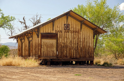 Freight portion of the Santa Fe depot in San Antonio, NM.