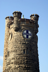 This decorative tower was designed to have clocks but the city of Shawnee never had them installed.  It also served as part of the heating and coling system for the depot.