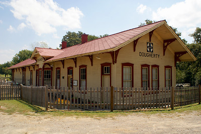 Classic style Santa Fe depot from Dougherty, OK.  Now located a few miles west of Sulphur, OK.