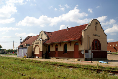 Rock Island depot in Seminole, OK.  Now being used as a Mexican restaurant.
