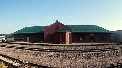 Panoramic view of CB&Q depot in York, NE.