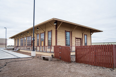 Union Station in Deming, NM.  Used by Southern Pacific and Santa Fe.  Was originally a two story depot.  Only bottom portion remains.