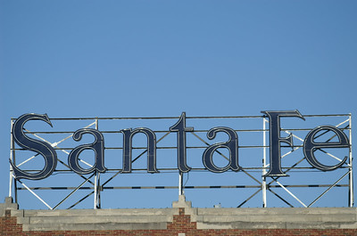 Sign atop the Santa Fe freight depot in downtown Ft Worth, TX.