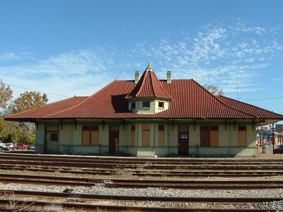 Houston East & West Texas railroad depot in Nacogdoches, TX. in 2003.  Under restoration.