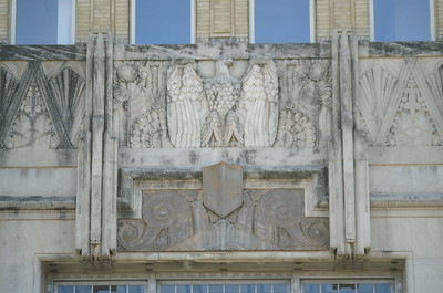 This eagle is located above the main entrance into the station.