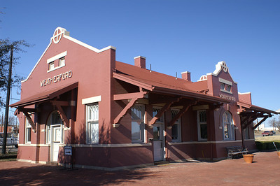 Weatherford, TX was the last station on the line from Cleburne, TX.  After the line was abandoned, the railroad left behind this standard brick county seat style depot.  This design was more commonly found in Kansas.