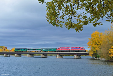 3.  Central Maine & Quebec Passenger Extra is crossing the RichelieuRiver at St-Jean-sur-Richelieu, Quebec