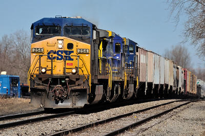 CSX Q62027 with CSXT 254 (AC4400CW), CSXT 7644 (C40-8), and CSXT 608 (CW60AC) southbound on St. Lawrence Subdivision.  Passing siding track at KALB.  March 27th, 2011.