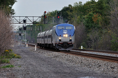 Amtrak 63 (The Maple Leaf) westbound at the QC308 signal bridge