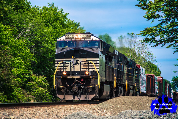 Norfolk Southern Locomotive 3606 Leads a Freight through Nokesville, VA