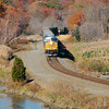 CSX freight train crosses Iona Island at Bear Mountain, NY