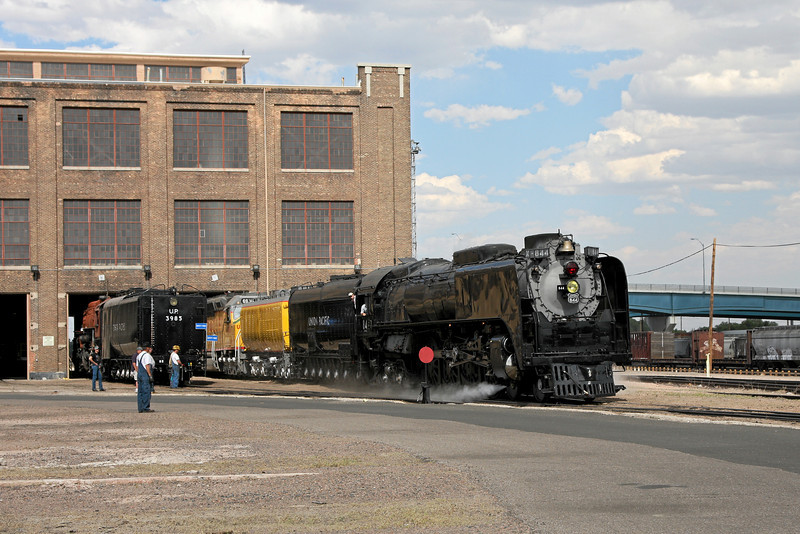 UP Steam Shop in Cheyenne, with UP 4-8-4 #844 and UP Challenger 4-6-6-4 #3985