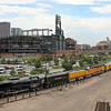 Backing into Denver Union Station past Coors Field