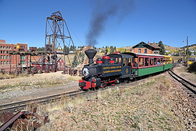 #3 at Cripple Creek Wye, with the 1895 Midland Terminal Depot at right